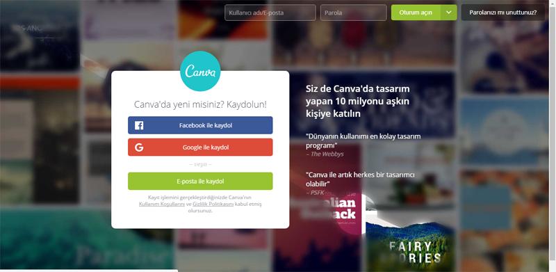 canva.com giriş ekranı