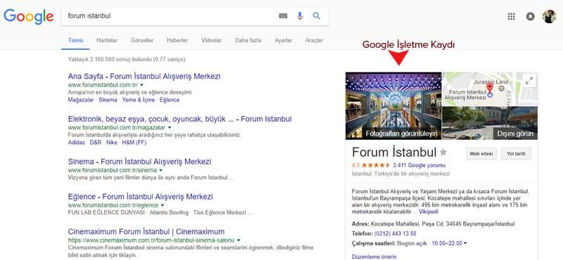 Google İşletme kaydı örneği